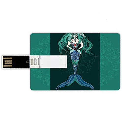 32GB Forma de tarjeta de crédito de unidades flash USB Sirena Estilo de tarjeta de banco de Memory Stick Sirena dibujada a mano sobre diseño de fantasía de fondo de mandala adornado,verde jade verde o