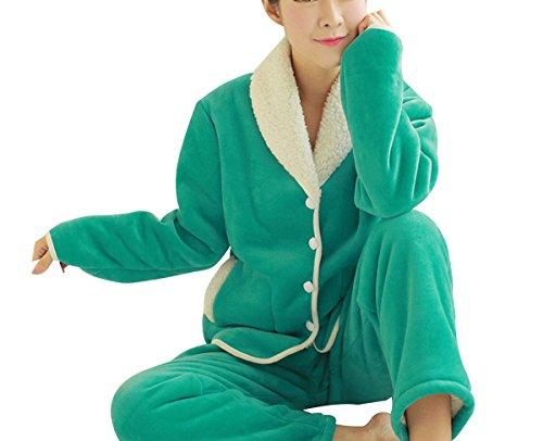 QPALZM Version Coréenne De L'automne Et L'hiver Flanelle épaisse Pyjama Matelasséà Manches Longues green