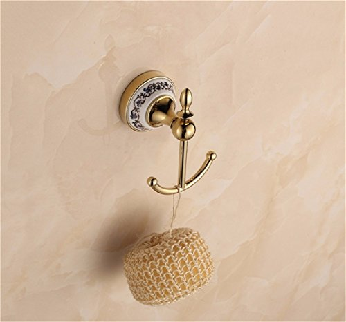 D&D-Bathroom Accessories Badaccessoires Sets/Weihnachten Im europäischen Stil golden Edelstahl Keramik Bad Anhänger Set, Seifenschale, Zahnbürste Rack, Kleidung Haken -