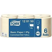Tork 120150 Papel de secado básico Universal / Paños de papel de alimentación central compatibles con el sistema M2 / 6 x bobinas / 1 capa / Blanco