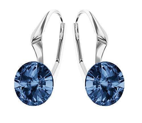 Crystals & Stones *RIVOLI* 8 mm *Viele Farben* Ohrringe Damen Ohrhänger mit Kristallen von Swarovski Elements,ideal als Geschenk für Frau oder Freundin PIN/75 (Montana) -