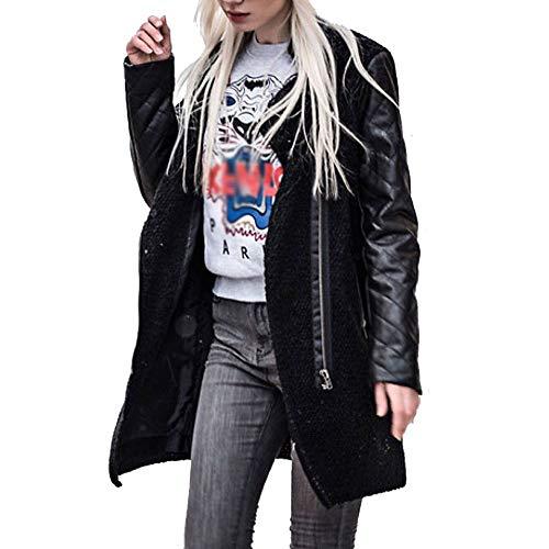 Herbst Winterjacke Damen Lederjacke Damen Frauen FRAUIT Reißverschluss Spleiß-Jacken-dünne Jacken...