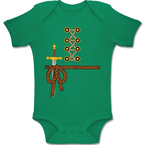 Kostüm Schwert Er Mann - Shirtracer Karneval und Fasching Baby - Ritter Kostüm Fasching - 6-12 Monate - Grün - BZ10 - Baby Body Kurzarm Jungen Mädchen