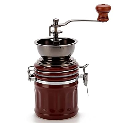 3E Home Manual Canister Ceramic Burr Coffee Mill Grinder, Stainless Steel Top