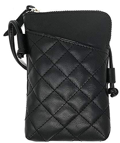 n Leather Cross Body Mobile Phone and Passport Travel Pouch Bag MH9723 (schwarz gesteppt) ()