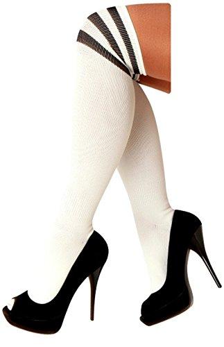 krautwear Damen Mädchen Kinder Cheerleader Kniestrümpfe mit 3 Streifen Gestreifte Overknees...