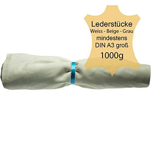 Langlauf Schuhbedarf ® Lederstücke Lederreste extragroß ca. 1kg hell - Weiss - beige - grau - alle Stücke Mind. DIN A3