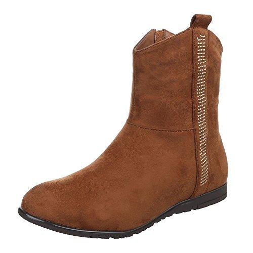 Ital-Design Komfort Stiefeletten Damen Schuhe Schlupfstiefel Moderne Reißverschluss Stiefeletten Camel