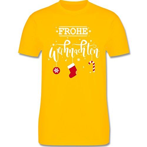 Weihnachten & Silvester - Frohe Weihnachten Lettering - Herren Premium T-Shirt Gelb