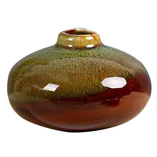 Cupcinu Vintage Keramik Blumenvase Topf Handmade Porzellan Kleiner Tisch Oblate gehüllt Keramik Blumen Vase Topf für Home Office Garden Flower Shop Decor, Keramik, B, M - Vintage Garden Vase