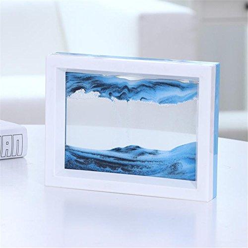 PROW® Dynamisch 3D Natürliche Landschaft Fließendes Sand Bild Kunst Double Faced Doppelte Farbe Bewegend Sand Malerei Sandmalerei Sanduhr (Blau Weiss)