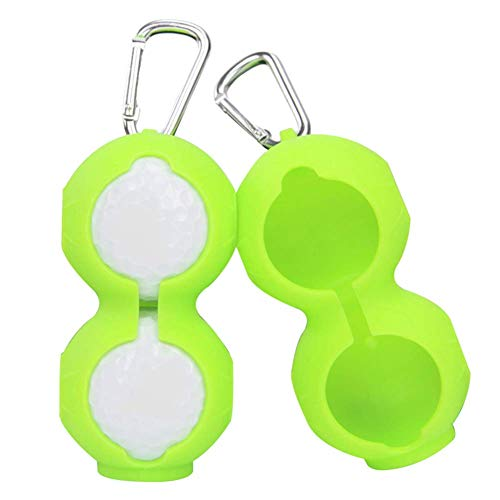 Fishyu 2Pcs Silicone Golf Ball Protective Cover Soft Waist Holder Sleeve Storage Bag with Carabiner Holder Keyring Golfing Accessories for 2Balls -