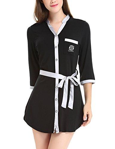 Damen 3/4 Lang Nachthemd Knopfleiste Nachtkleid Negligee Sleepshirt mit Gürtel by NORA TWIPS Schwarz
