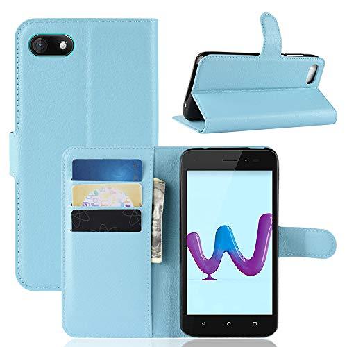 LAGUI Hülle Geeignet für Wiko Sunny 3, Schlichtes Aber Edles Brieftasche Lederhülle Mit Kartenfächern Fach und Magnetische Verschluss, Anti-Scratch, stoßfeste Handyhülle. Blau