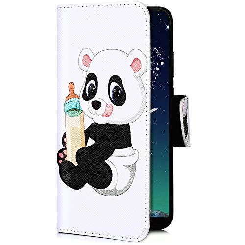 Kompatibel mit Handyhülle iPhone XR Handy Tasche Bunt 3D Muster Brieftasche Ledertasche Klapphülle Leder Flip Case Cover Klappbar Lederhülle mit Kartenfach,Panda Flasche