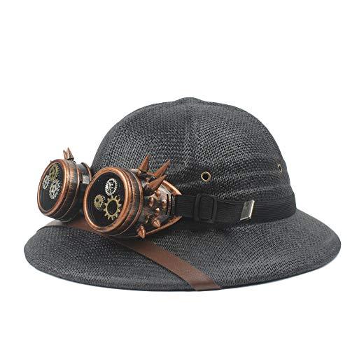 XACQuanyao 2019 Brille toquilla Stroh Steampunk Hut Helm Mark sonnenhüte for männer Vietnam Krieg Armee Hut Safari Jungle Miners Cap Papa Boater Eimer hüte Cosplay