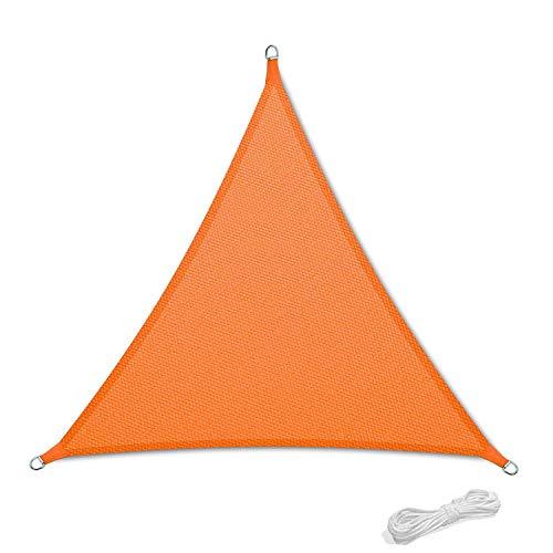 Tenda a Vela Parasole Ombrelloni da Giardino Impermeabile Protezione Antivento con UV Protezione per Terrazza, Campeggio, Cortile, con Corda Libera 3x3x3m Triangolare Arancione