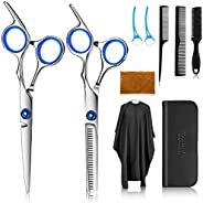 Premify Hair Cutting Scissors Hairdressing Thinning Shears Kit with Barber Cape Hair Thinning Cutting Combs an