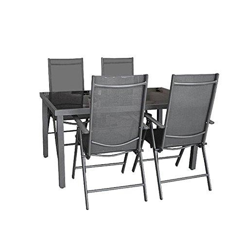 5tlg. Gartengarnitur, Aluminium Gartentisch mit schwarzer Tischglasplatte 150x90cm + 4x Aluminium-Hochlehner mit 2x2 Textilenbespannung, 7-fach verstellbar, klappbar, anthrazit / Sitzgruppe Sitzgarnitur Gartenmöbel Terrassenmöbel