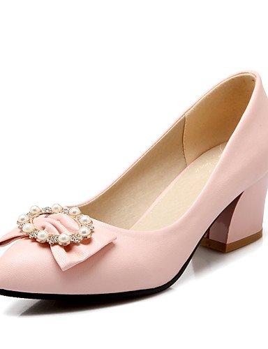 WSS 2016 Chaussures Femme-Bureau & Travail / Décontracté-Noir / Bleu / Rose / Blanc-Gros Talon-Talons / Confort / Bout Pointu / Bout Fermé-Talons- black-us7.5 / eu38 / uk5.5 / cn38