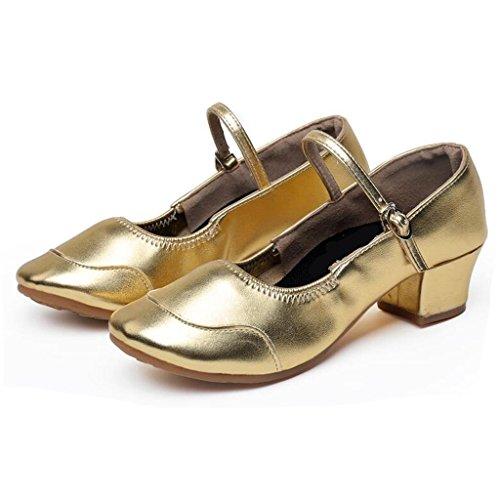 W & Lm Miss Dance Chaussures Latin Amitié Jouer Chaussures Carrés Chaussures Modernes Chaussures De Danse Or Social