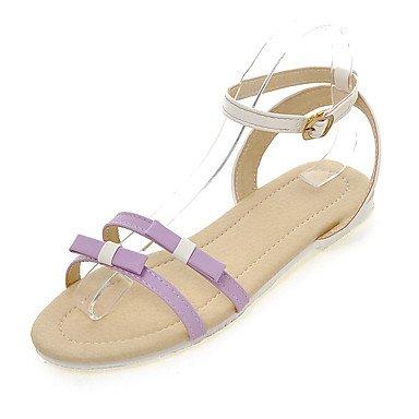 LvYuan Da donna-Sandali-Formale Casual-Altro-Piatto-Finta pelle-Blu Rosa Viola Tessuto almond Pink