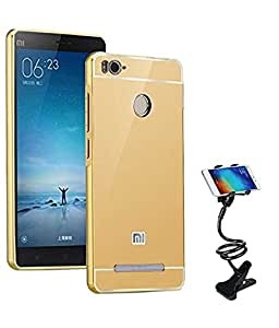 TBZ Metal Bumper Acrylic Mirror Back Cover Case for Xiaomi Redmi 3s Prime with Flexible Tablet/Phone Holder Lazy Stand -Golden