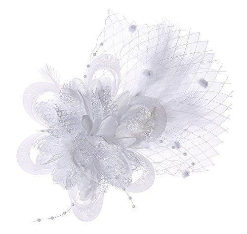 Abnehmbare Fascinator Haar-Klipp-Feder-Hochzeit Kopfbedeckung Braut 1920er Kopfstück Corsage (Weiß) (Kostüm Party Themes Zu Weihnachten)
