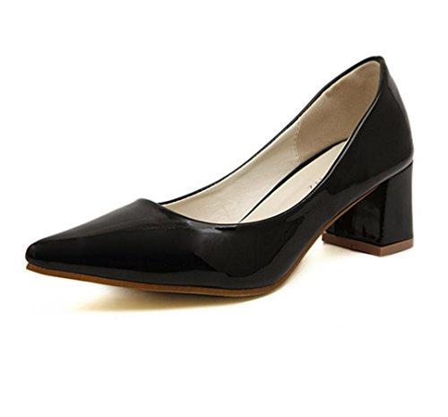WZG Nouvelles chaussures en cuir verni talons pointus bouche peu profonde chaussures à talons épais nouvelle Black