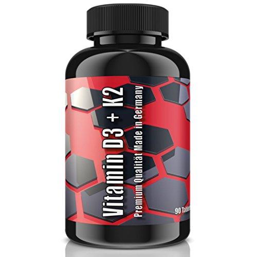 Mcg 90 Kapseln (VITAMIN D3 + K2 (MK-7)   5.000 IE + 100 MCG - 90 Tabletten (vegan)   HOCHDOSIERT   Premium Qualität nach ISO & GMP   Für den Knochenstoffwechsel + Muskelfunktion)