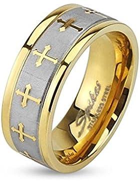Paula & Fritz® Ring aus Edelstahl Chirurgenstahl 316L silber 6mm breit goldveredelt keltischen Kreuzen Ringgrößen...