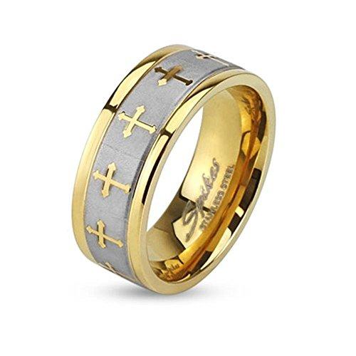 Paula & Fritz® Ring aus Edelstahl Chirurgenstahl 316L Silber 6mm breit goldver.