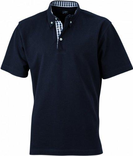 Herren Button-Down-Polo mit modischem Karo-Einsatz, Farbe:black/black-white;Größe:XL