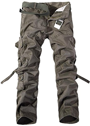 Jeansian Moda Pantaloni Casual Uomo Slim Cargo Pant J201 GrayGreen W32