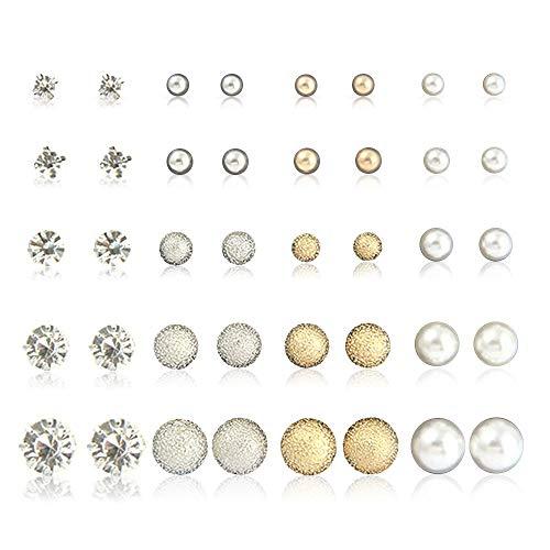 MJARTORIA 20 Paar Ohrstecker Set Perlen Strass Metall Gold und Silber Farbe Oder Cartoon Kleine Tiere Eule Blumen Ohrringe für Mädchen Damen (Silber Gold)