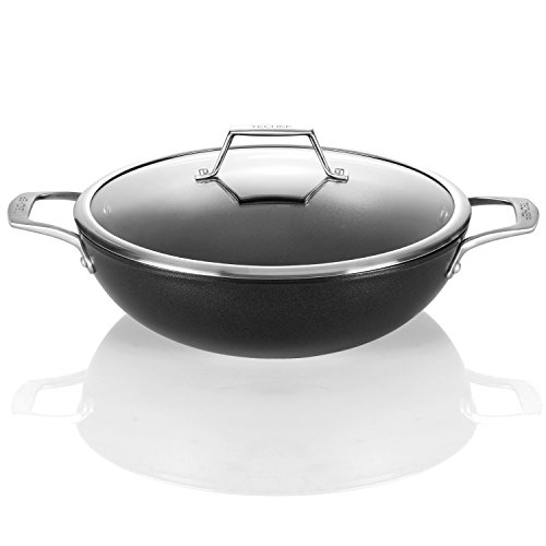 TECHEF - Onyx Collection, 12-Inch Wok/Stir Fry Pan with Glass Lid, coated with New Teflon Platinum Non-Stick Coating (PFOA Free) Fry Pan Lid