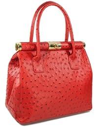 Belli® Italiana. Designer piel bolso rojo de avestruz tamaño: L–29x 24x 16cm (B X H X T)