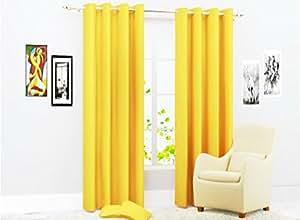 Shivam Concepts 9 ft Set Of 1 Long door yellow plainPolyester Curtains