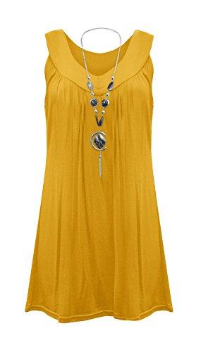 Tunique sans manches à décolleté plongeant évasé et collier gitan pour femme Grande Taille FR 42–52 - jaune - X-Large
