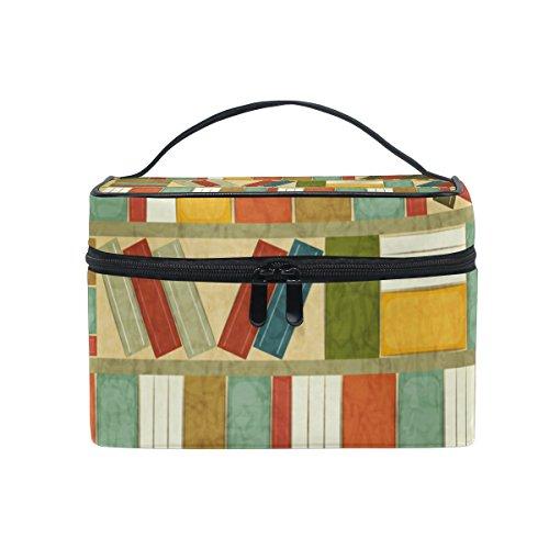 Single Bücherregal (COOSUN Vintage Bücherregal Cosmetic Bag Canvas Travel Kulturbeutel Top Single Layer Make-up-Beutel-Organisator Griff Multifunktions-kosmetischer Fall für Groß Mehrfarbig)