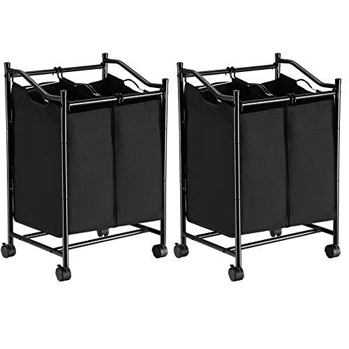 SONGMICS Wäschesortierer mit Rollen und 2 Fächern, Wäschekorb, Wäschesammler, Wäschewagen mit abnehmbaren Taschen LSF002BK2