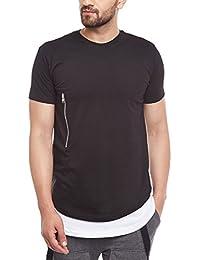 FUGAZEE Zipped Layered Contrast T-Shirt