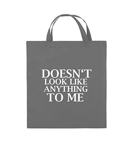Comedy Bags - DOESN'T LOOK LIKE ANYTHING TO ME - Jutebeutel - kurze Henkel - 38x42cm - Farbe: Schwarz / Pink Dunkelgrau / Weiss