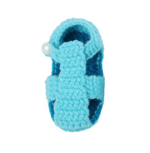 Yue Lian Baby Unisex Backstrap Knit Handgemachte Strickschuhe Lauflernschuhe Anti-Rutsch-Sohle Schuhe Eisblau