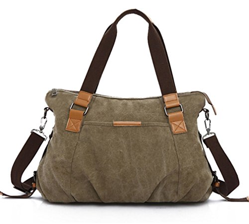 KISS GOLD Retro abwaschbare Damen Schultertasche Canvas Totes Hobo Bag, Grün - Animal-print Hobo