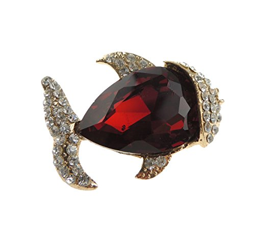 Da donna di lusso 5,08 cm Golden in pesce Spilla grande e argento con strass Diamantes in 4 colori, Rosso brillante, Taglia unica