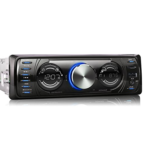 XOMAX XM-RSU220-B Autoradio mit USB Anschluss (bis 32 GB) & MicroSD Kartenslot (bis 32 GB) für MP3 und WMA + AUX-IN + Blaue Beleuchtungsfarben + Ohne CD-Laufwerk + Verkürzte Einbautiefe + Single DIN (1 DIN) Standard Einbaugröße + inkl. Einbaurahmen und Fernbedienung