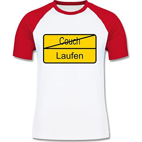 Laufsport - Laufen - zweifarbiges Baseballshirt für Männer Weiß/Rot