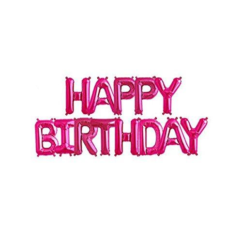 Trimmen Shop 40,6cm (41cm) Happy Birthday 13Buchstaben Folie Banner Luftballons, die mit aufblasende Stroh für Geburtstag Party Dekoration und Supplies–Royal Blau, Folie, Hot Pink, 40,6 cm