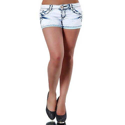 H099 Damen Jeans kurze Hose Damenjeans Hüftjeans Hot Pants Shorts Panty, Größen:40 (L) (Taille Elastische Nadelstreifen-shorts)